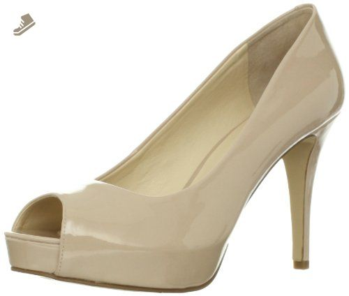 Nine West Women's Camya Peep-Toe Pump,Natural Synthetic,9.5 M US -