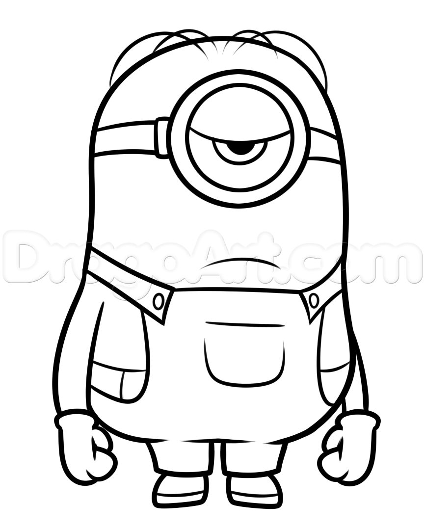 How To Draw Stuart From Minions Step 8 Titeres De Dedo Perros