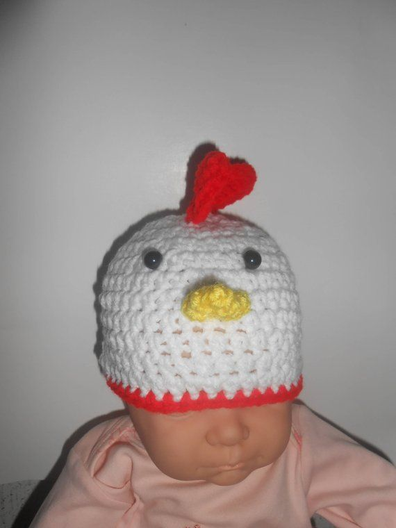 6a9f8ce690b Crochet baby newborn chicken hat