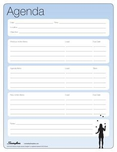 Meeting Agenda  Laminating Templates  Printables
