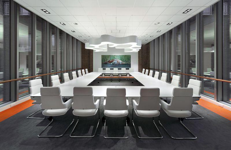 Meeting Room Design By Casper Schwarz C4id Board Room Thonet Chairs Orange Accent Big Lamp