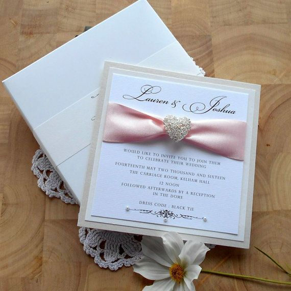 Charming Luxury Wedding Invitation With Presentation Box Card Invite Classic Modern  Elegant Couture White Ivory Pink Ribbon