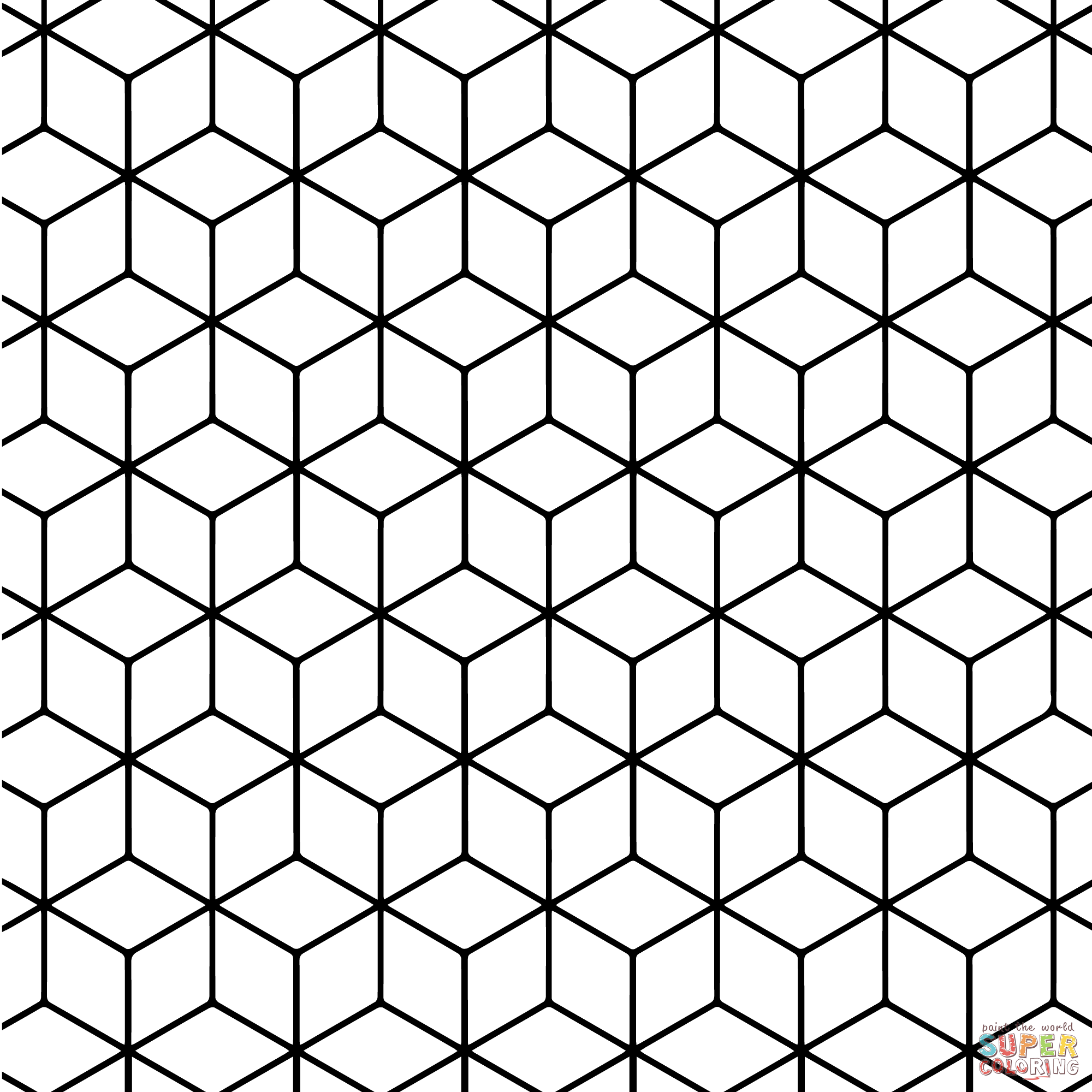 Geometric tessellation with rhombus pattern coloring page Geometric patterns