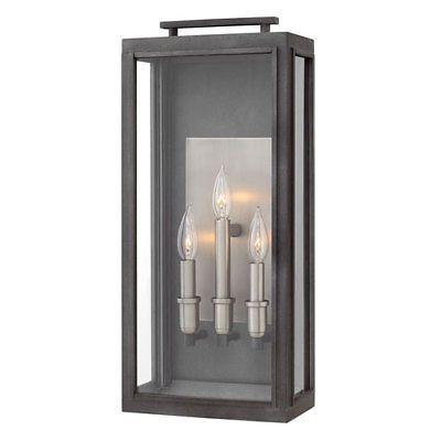 Hinkley Sutcliffe Aged Zinc 10 Inch Three Light Outdoor Large Wall