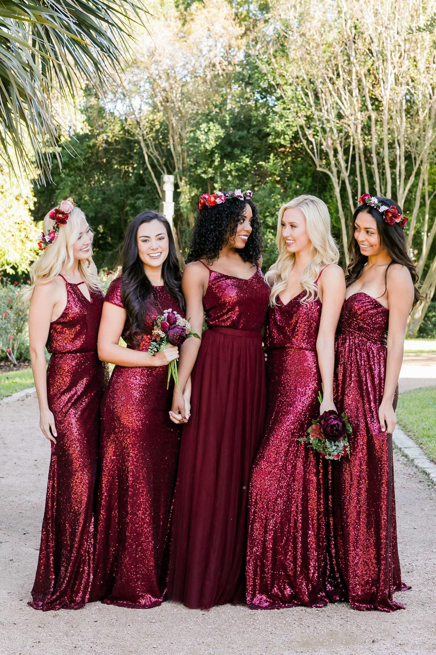 Custom Made Red Sequin Burgundy Mismatched Bridesmaid Dress Red Bridesmaid Dresses Unique Bridesmaid Dresses Burgundy Bridesmaid Dresses