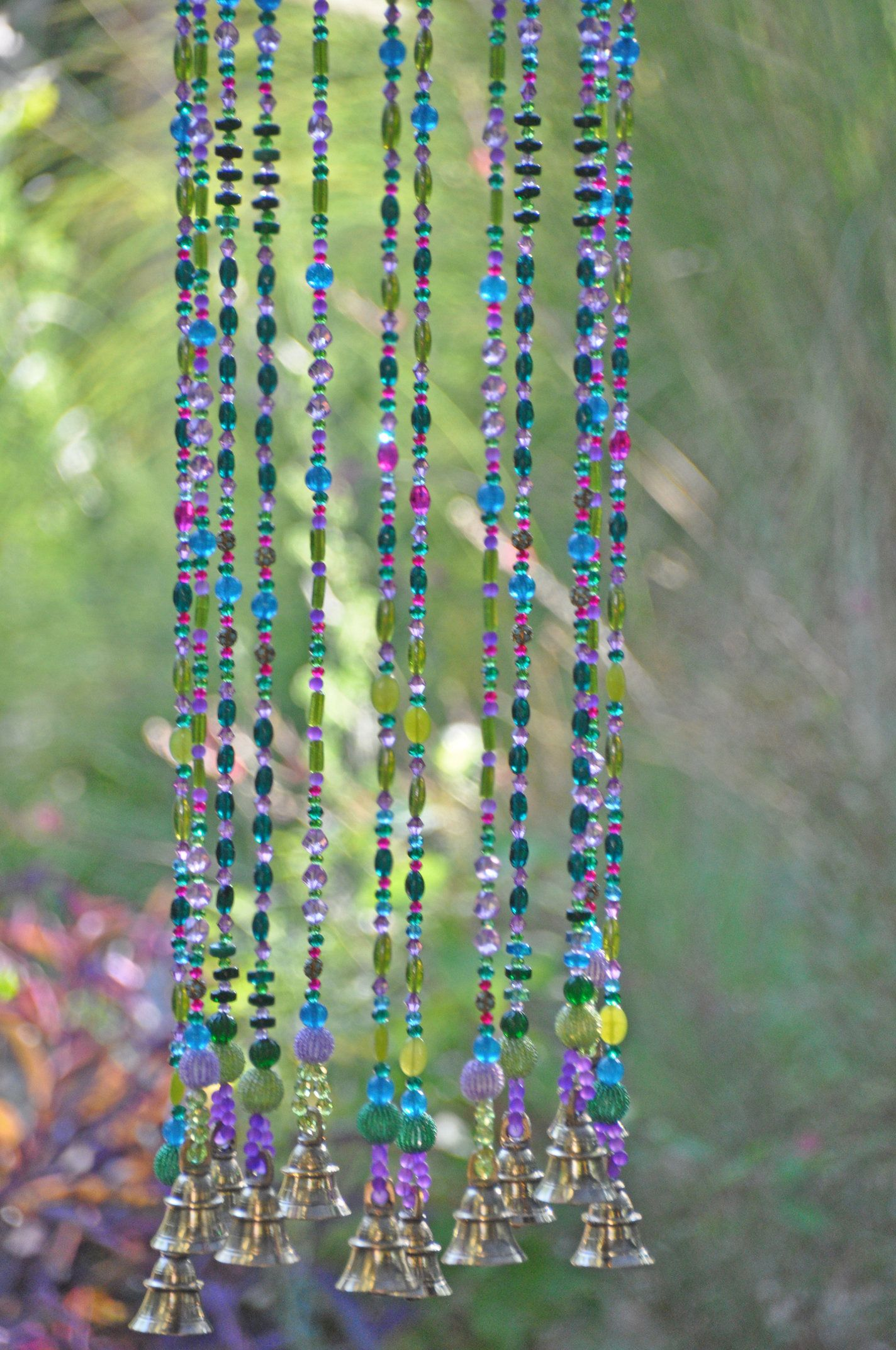 """Blue Beaded Wind Chime 11/"""""""