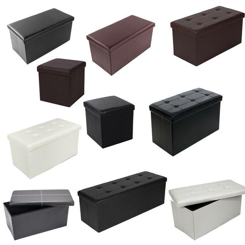 Pvc Leather Storage Footstool Sofa Ottoman Bench Folding Footrest Box Seat New In 2020 Storage Footstool Ottoman Sofa Ottoman Bench