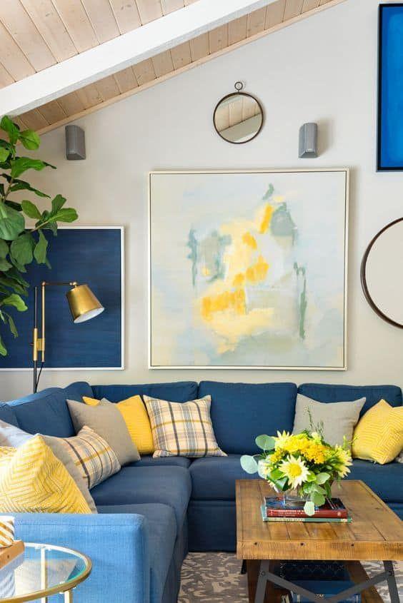 sala azul y amarillo decoración