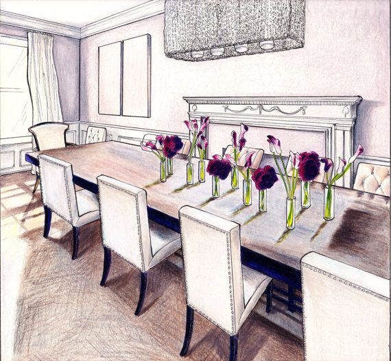 Pink Dining Room Art Print On Sale At Etsy