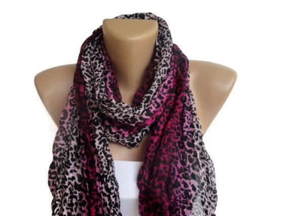 fashion purple leopard print scarf, wrinkled scarves , women trend scarf. $10.50, via Etsy.