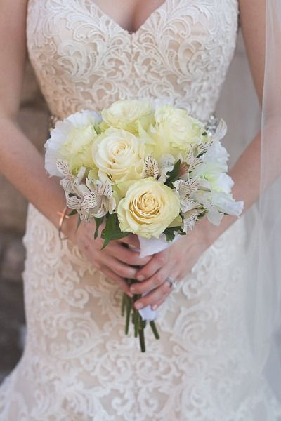 Classic wedding bouquet idea - ivory rose and white alstroemeria {k.s.h. designs photography