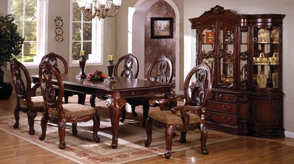 Tuscany II Traditional Antique Cherry Solid Wood Formal Dining Table