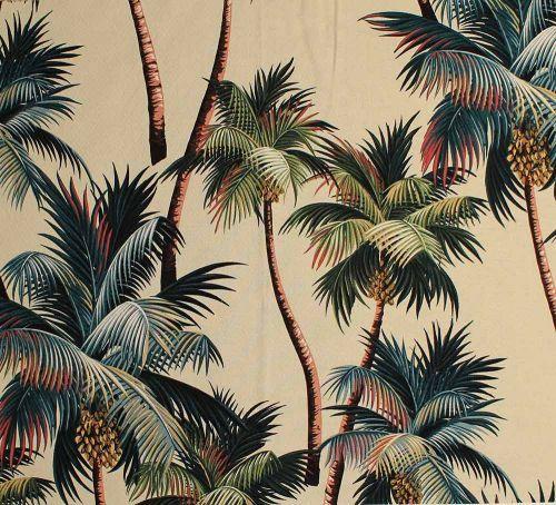 Vintage Style Barkcloth Leaf Prints Tropical Wallpaper Palm Print
