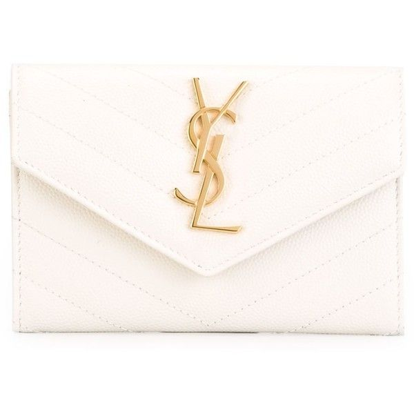 Saint Laurent 'Monogram' wallet ($370) ❤ liked on Polyvore featuring bags, wallets, white, genuine leather wallet, white leather bag, genuine leather bag, 100 leather wallet and monogrammed leather wallet