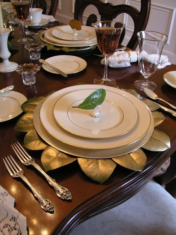 Pretty magnolia leaves glued to cardboard or paper plate then lightly spray painted with gold paint. Place card is a small magnolia leaf with name written ... & Affordable Accoutrements: Lenox and Magnolias! | D I Y. Craft ...