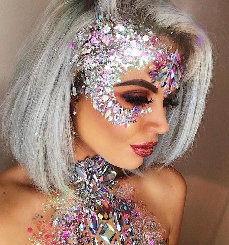 Glitter & Shiny makeup forever ️ | Festival makeup glitter ...