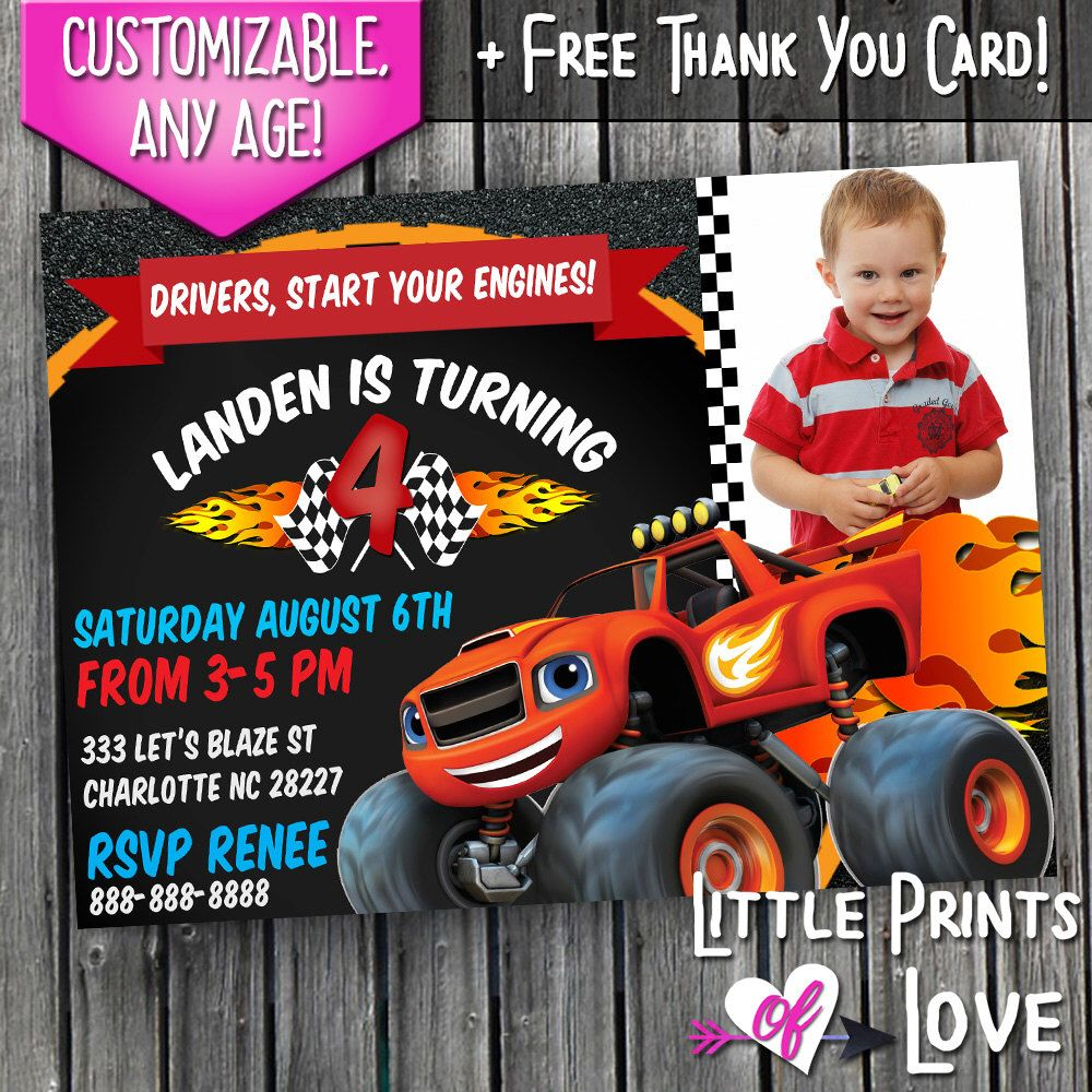 Blaze And The Monster Machines Custom Invitations