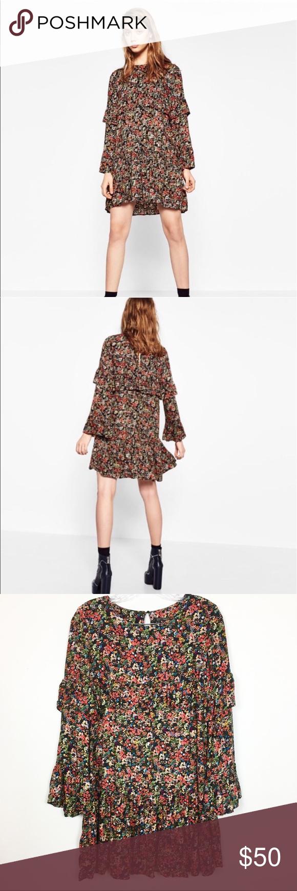 Zara Floral Ruffle Dress