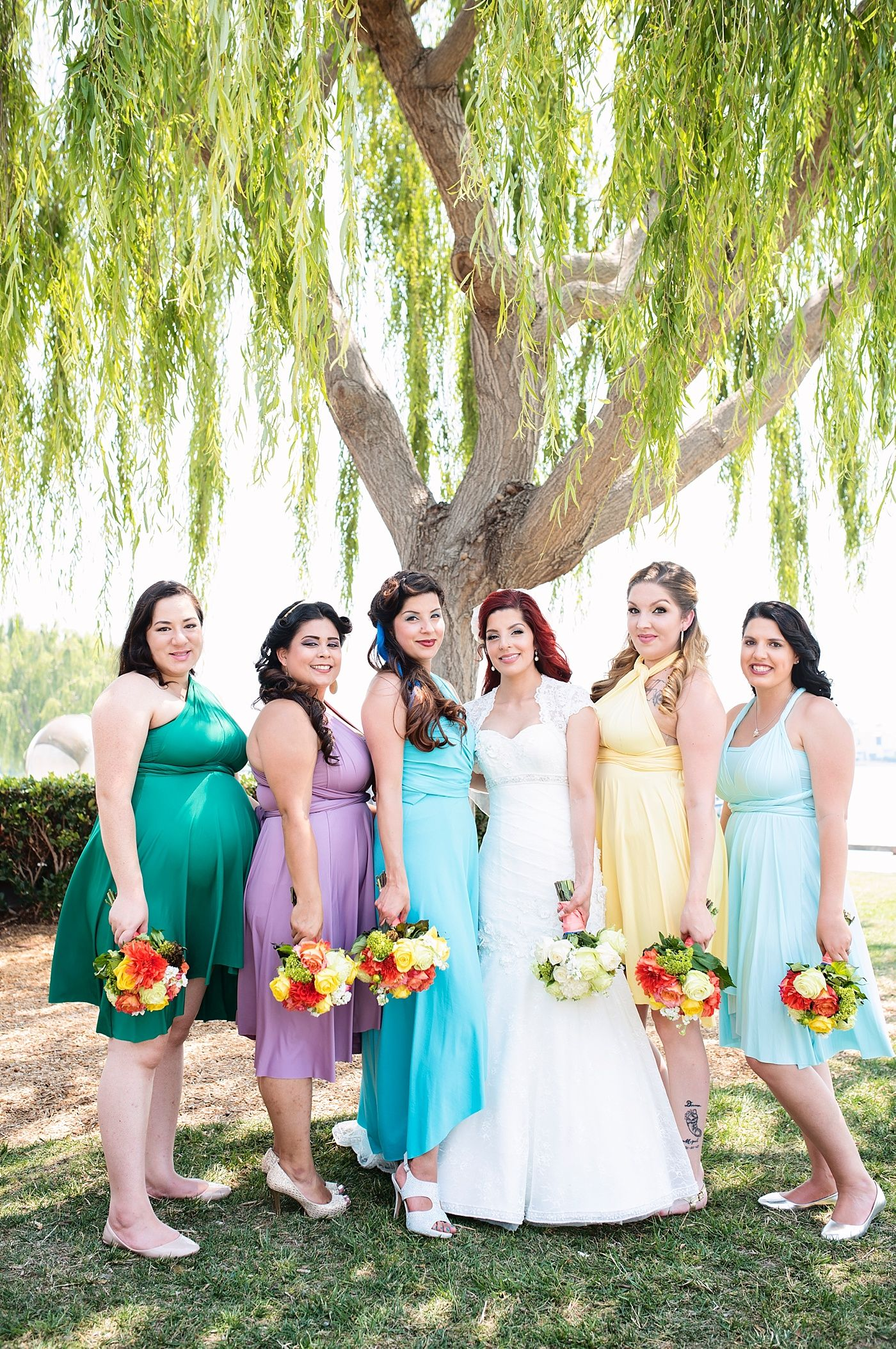 Disney Princesses Wedding Inspired World Of Color Inspiration Bridesmaids Dresses Infinity Brides