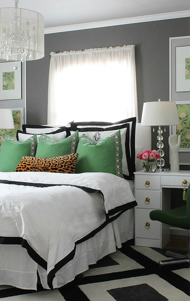 stunning bedroom makeover in green, black, white, gray with pops of ...