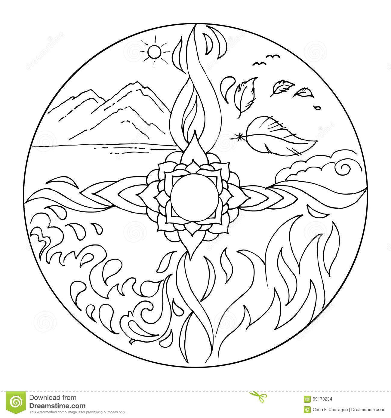 Coloring 4 Elements Mandala Diksha - Download From Over 41
