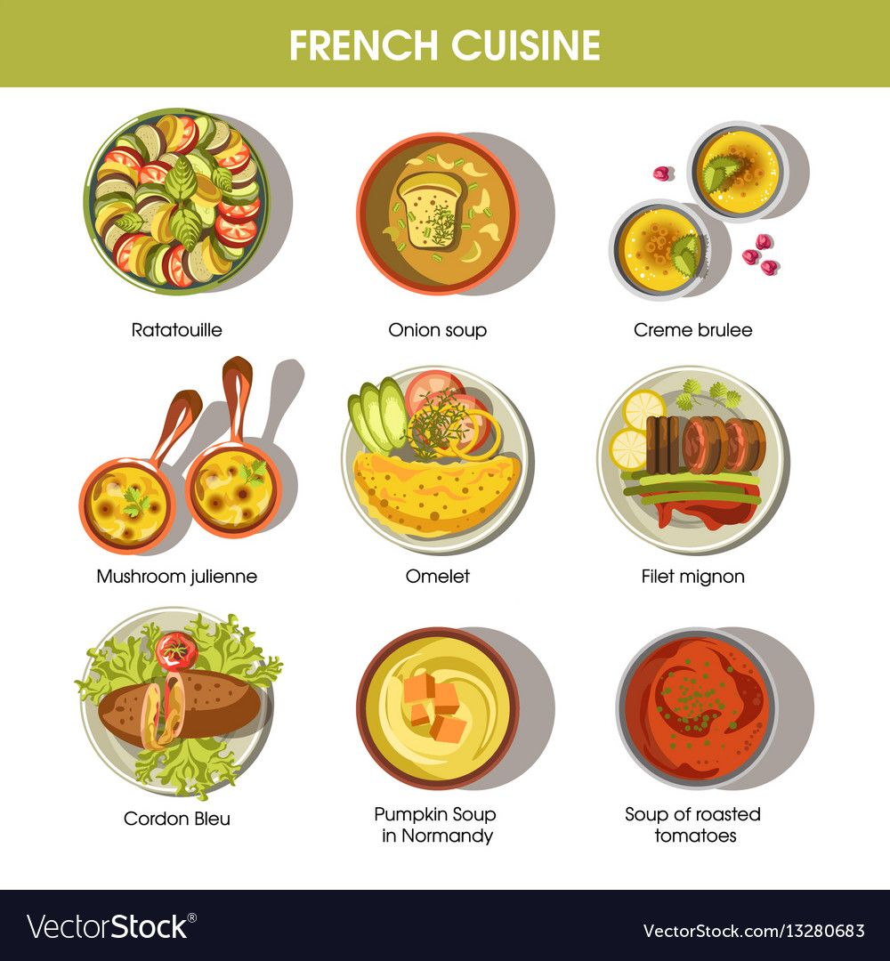 French Cuisine Food Dishes For Menu Vector Image On Vectorstock French Cuisine Cuisine Food Dishes