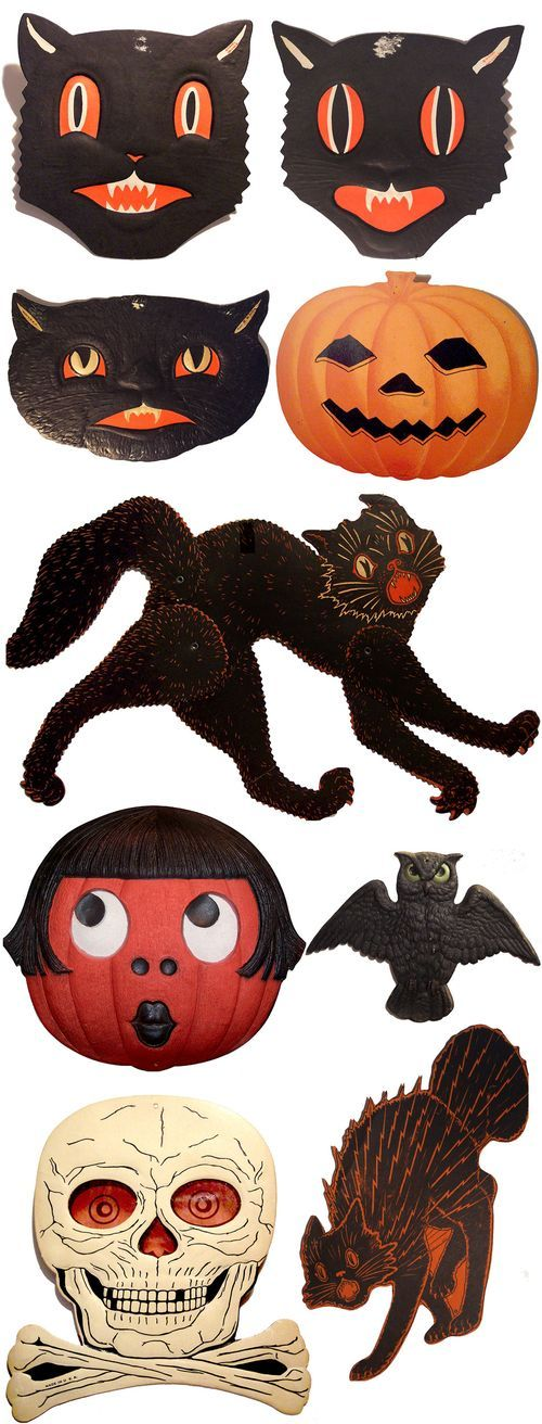 Vintage Halloween masks & decorations
