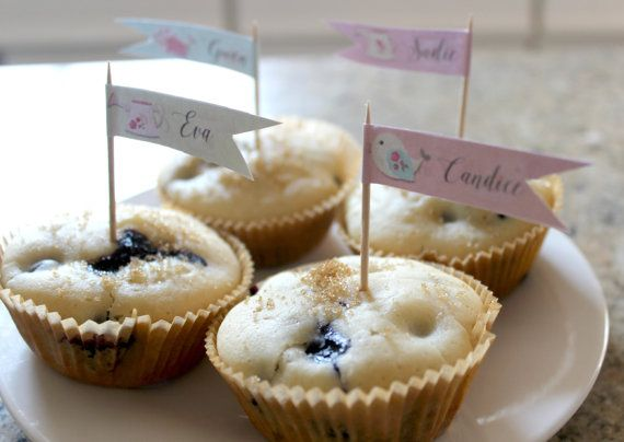 Garden Party Customized Cupcake/Muffin Flags.  Super cute!