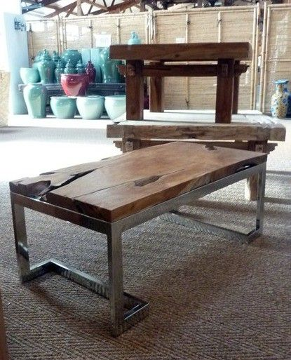 table basse en teck meuble bois teck inox design industriel tendances 2018 meubles. Black Bedroom Furniture Sets. Home Design Ideas