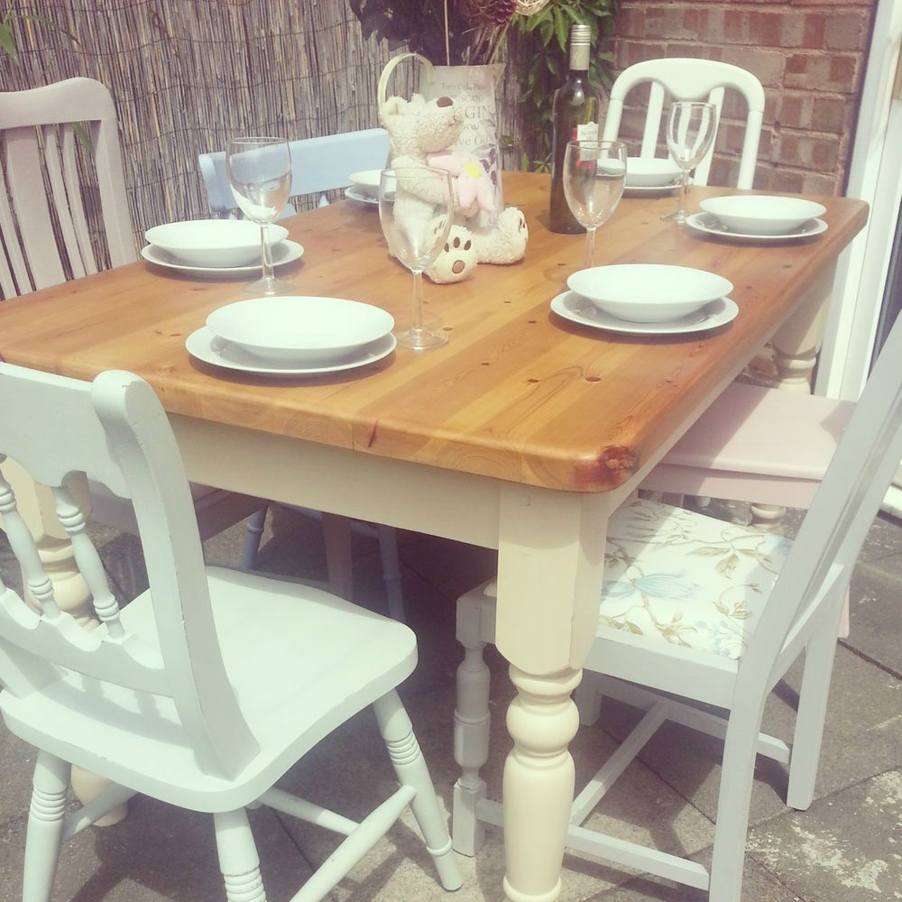 Bespoke Shabby Chic Traditional Farmhouse Table and 6 ...