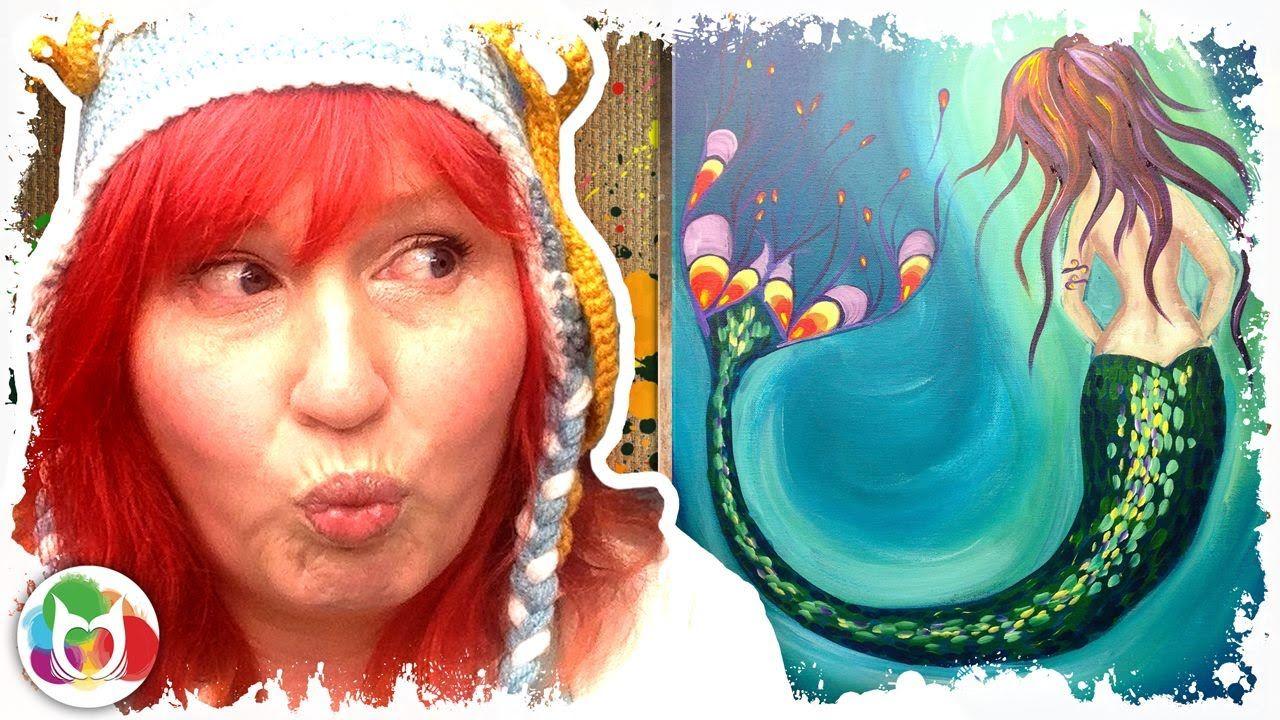 How to paint | Mermaid | Beginner acrylic art lesson ...