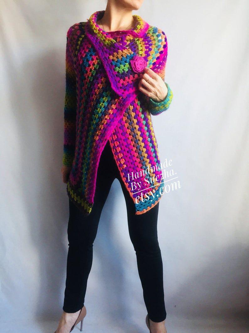 Rainbow Granny Square Knit Crochet CARDIGAN Colourful