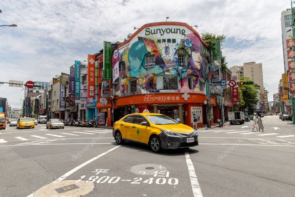 View of Ximen shopping district in Taipei. Popular pedestrian area in Taipei for ,