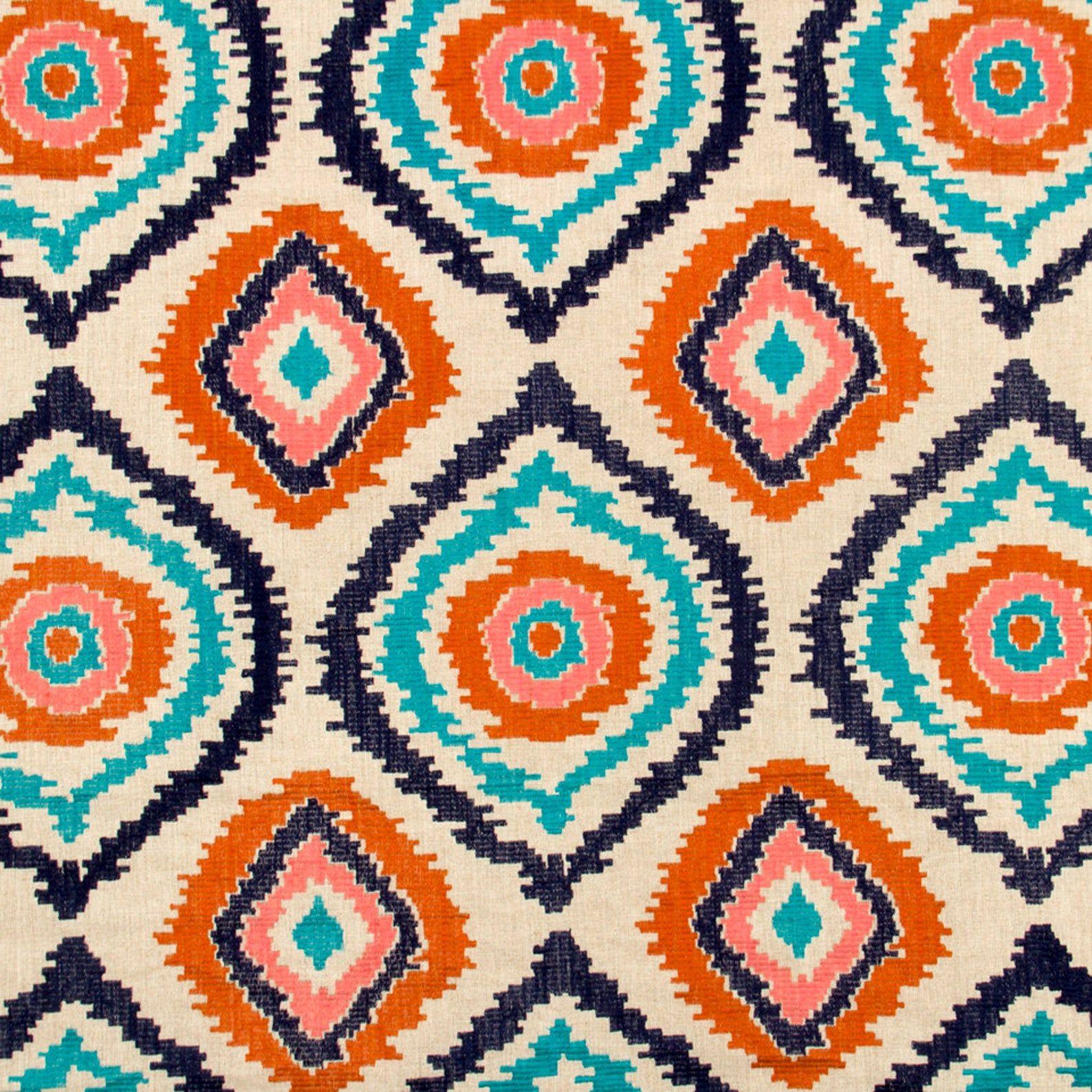 navy blue orange upholstery fabric