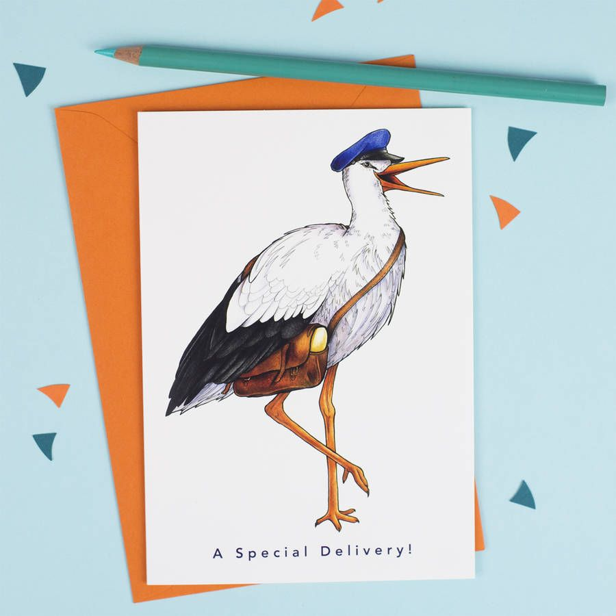 A Special Delivery Stork In A Postman S Cap Card Cards Stork