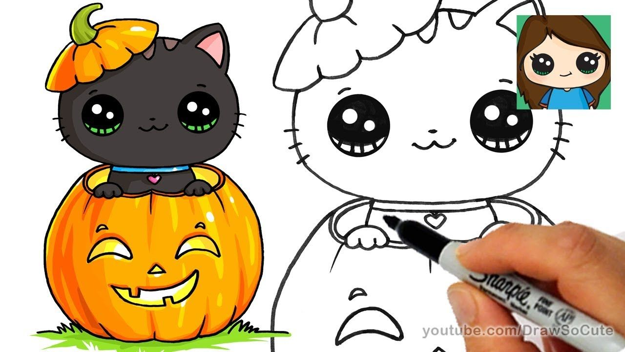 How to Draw a Kitten for Halloween Easy Disney drawings