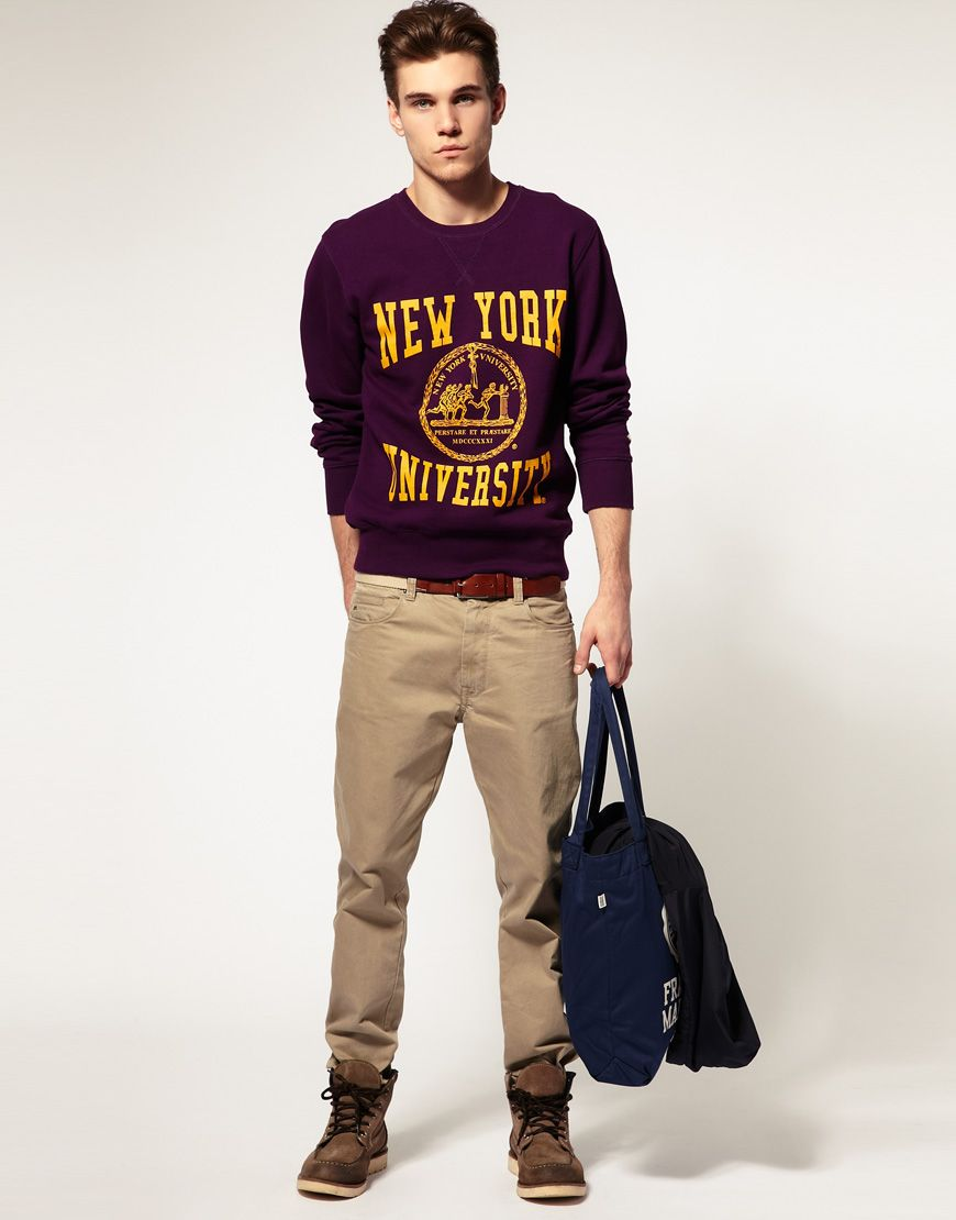 Image result for sweatshirt guy college full look