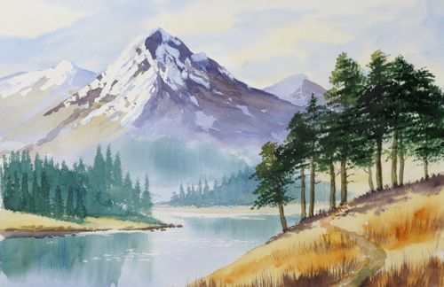 39 mountain trees 39 taken from painting watercolour trees the easy way by terry harrison water. Black Bedroom Furniture Sets. Home Design Ideas