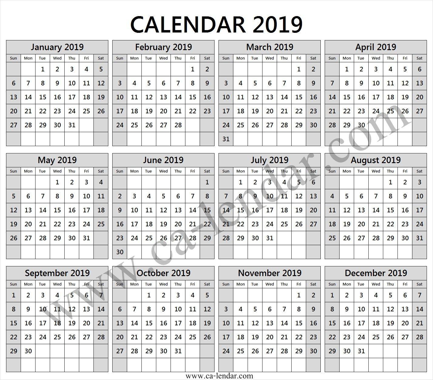 Editable 2019 Year Calendar 2019 Calendar Template Yearly