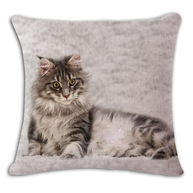 18'' Square Printed Linen Cushion Cover Colorful Cartoon Cats Decorative Sofa Pillow Case