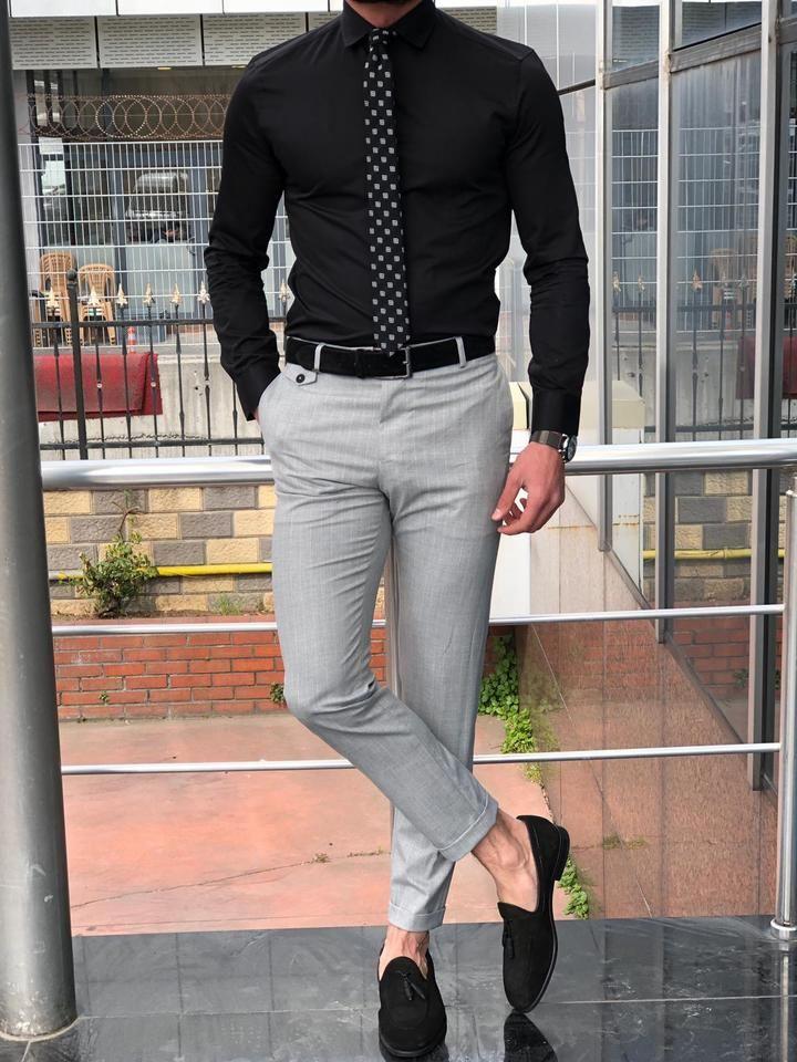 Kingston slim fit black shirt in 2020 mens fashion suits