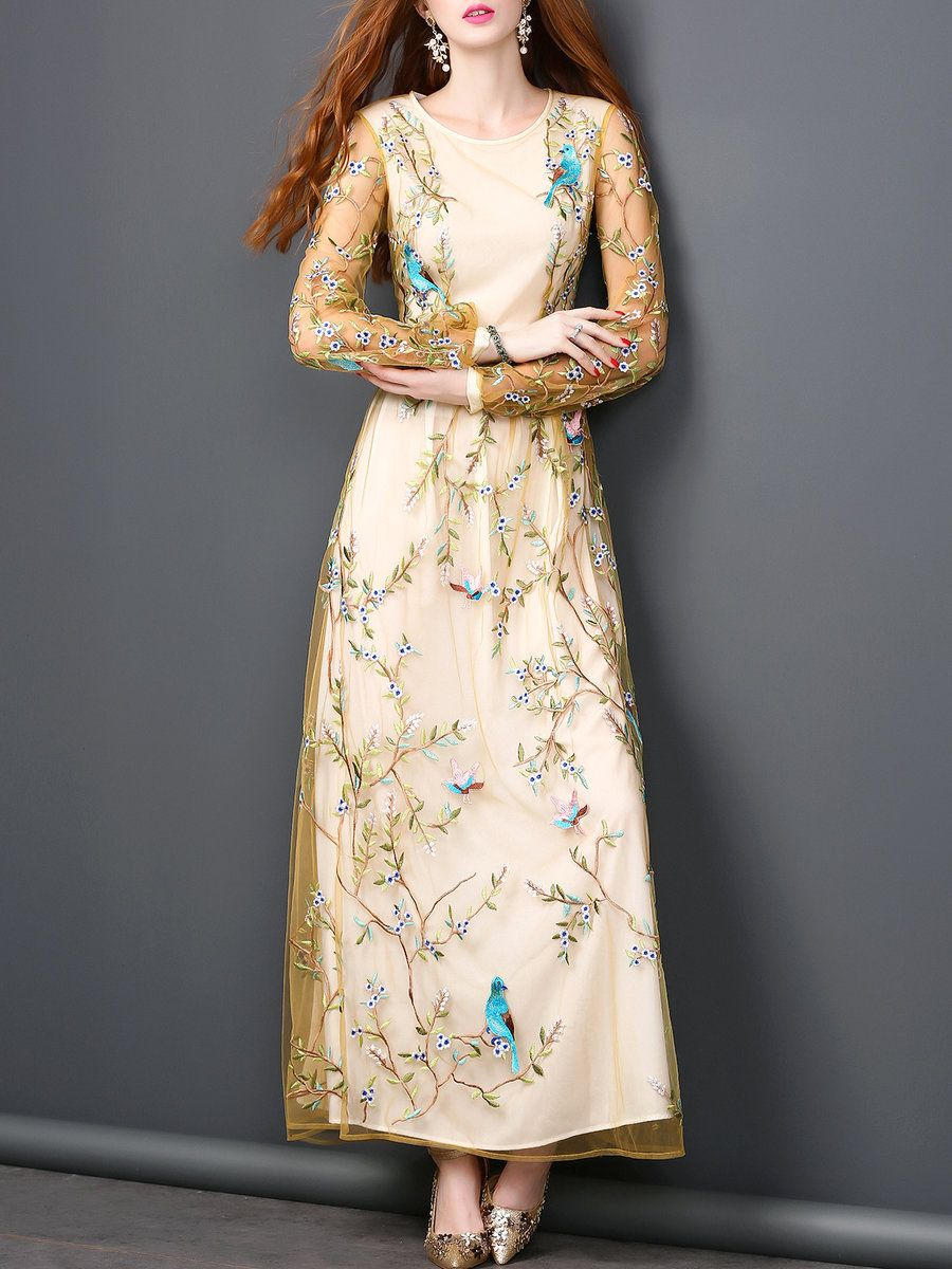 Yellow aline bird embroidered long sleeve maxi dress animal print