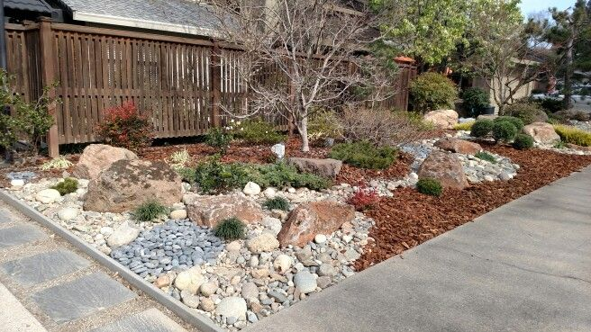 Cool Use Of Different Colored Rock And Bark Landscaping With Rocks Color Plants