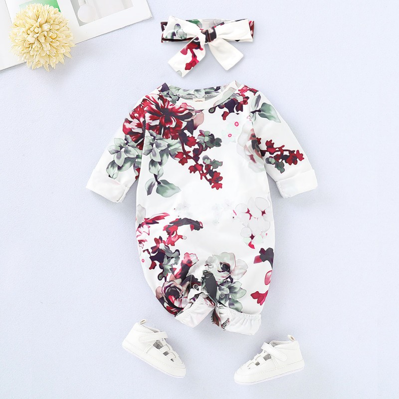 Baby Girl Fashion Rose Print Longsleeve Jumpsuit (With