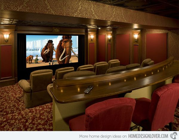 15 Interesting Media Rooms and Theaters With Bars | Home Design Lover #mediarooms