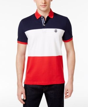 aa7765a8 Tommy Hilfiger Men's Slim-Fit Colorblocked Polo - Red XXXL ...