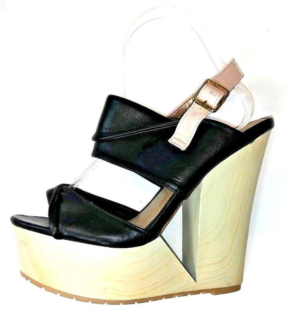 24e10e3b41c8 Qupid Womens High Wedge Sandals Size 7 Black Tan Ankle Strap Open Toe Wood  Heel  Qupid  PlatformsWedges