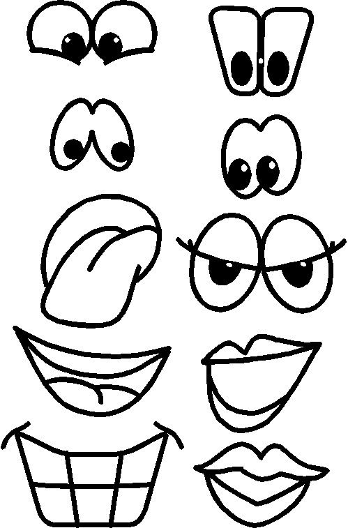 Printable Fruit Faces Coloring Pages Drawings Cartoon Faces