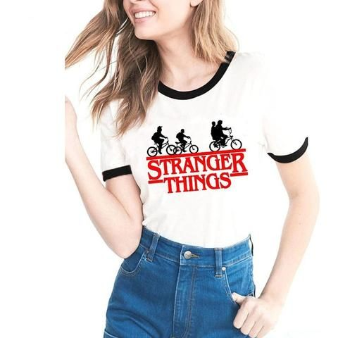 f0758f9f5e8 Stranger Things Tshirt Women 2018 Summer Letter Printing T-shirts Bts Funny Tee  Shirt For