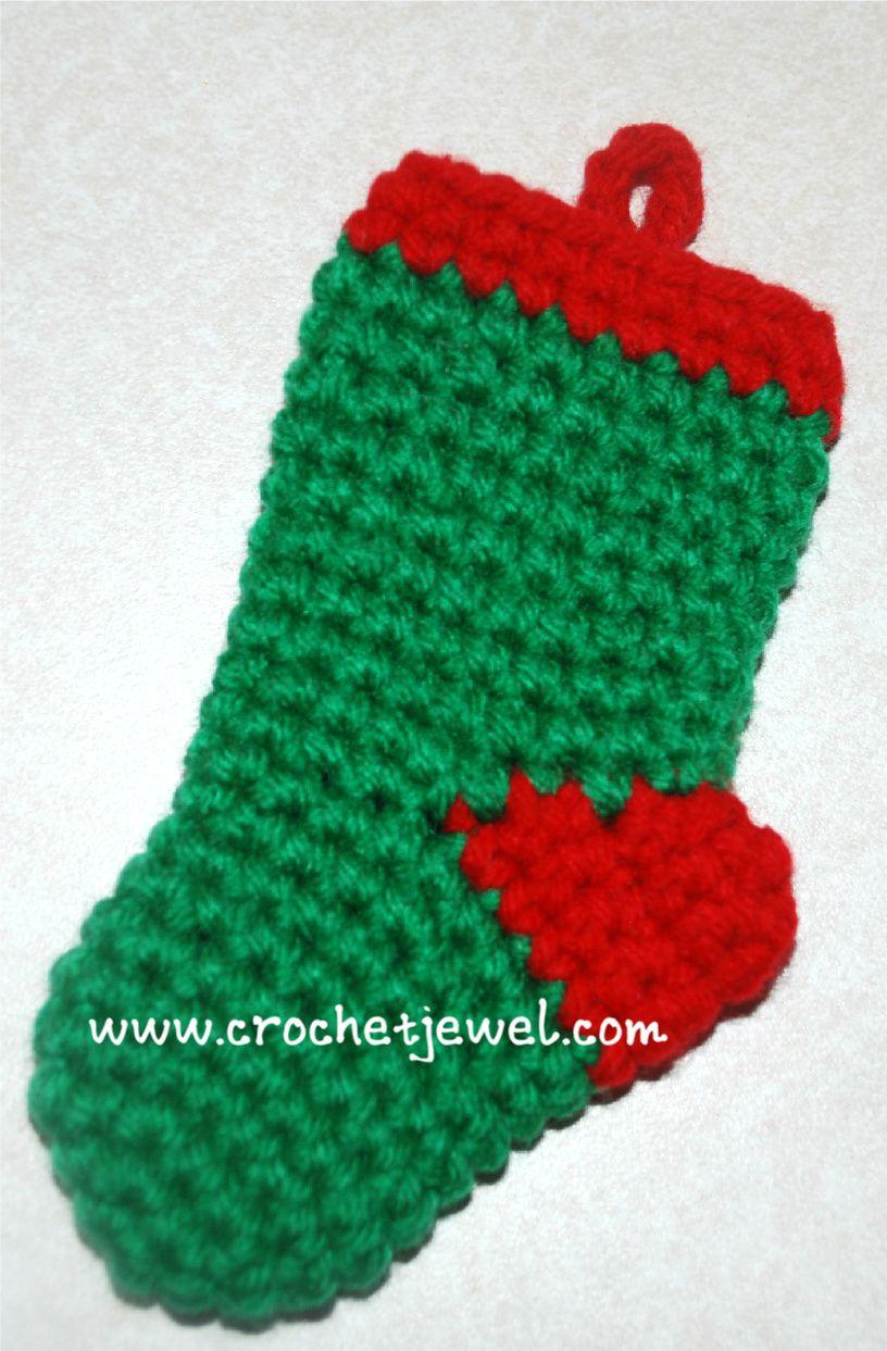 Crochet Mini Christmas Stocking pattern, http://crochetjewel.com/?p ...
